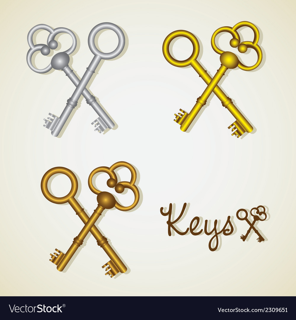 Set of old keys gold and silver vector | Price: 1 Credit (USD $1)
