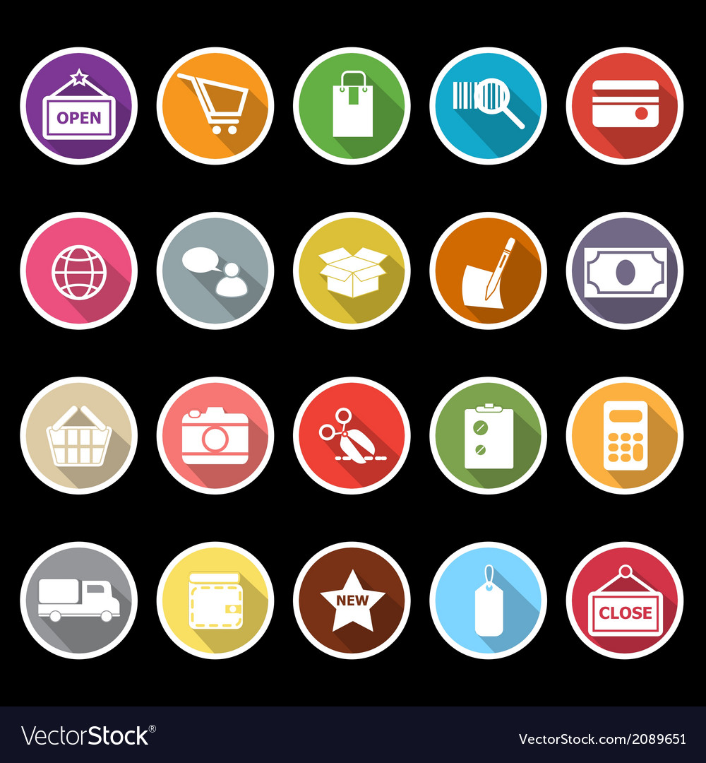Shopping icons with long shadow vector | Price: 1 Credit (USD $1)