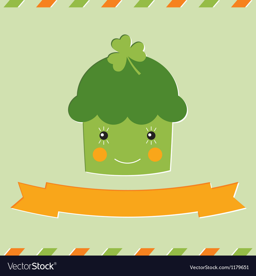 St patricks day cupcake card vector | Price: 1 Credit (USD $1)