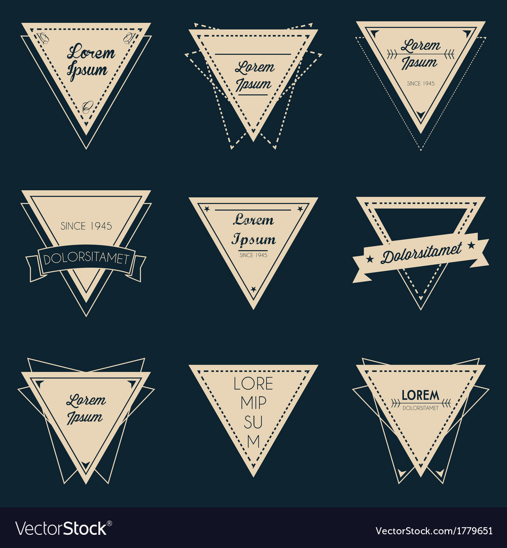 Triangle vintage label set vector | Price: 1 Credit (USD $1)