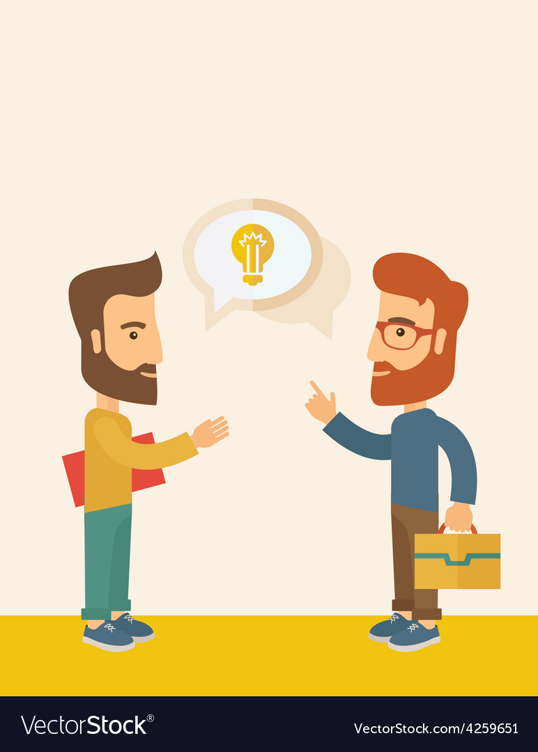 Two men sharing ideas vector | Price: 1 Credit (USD $1)