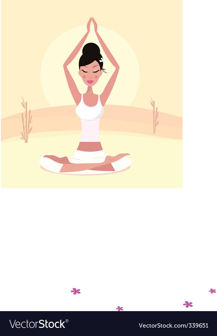 Yoga asian girl vector | Price: 1 Credit (USD $1)