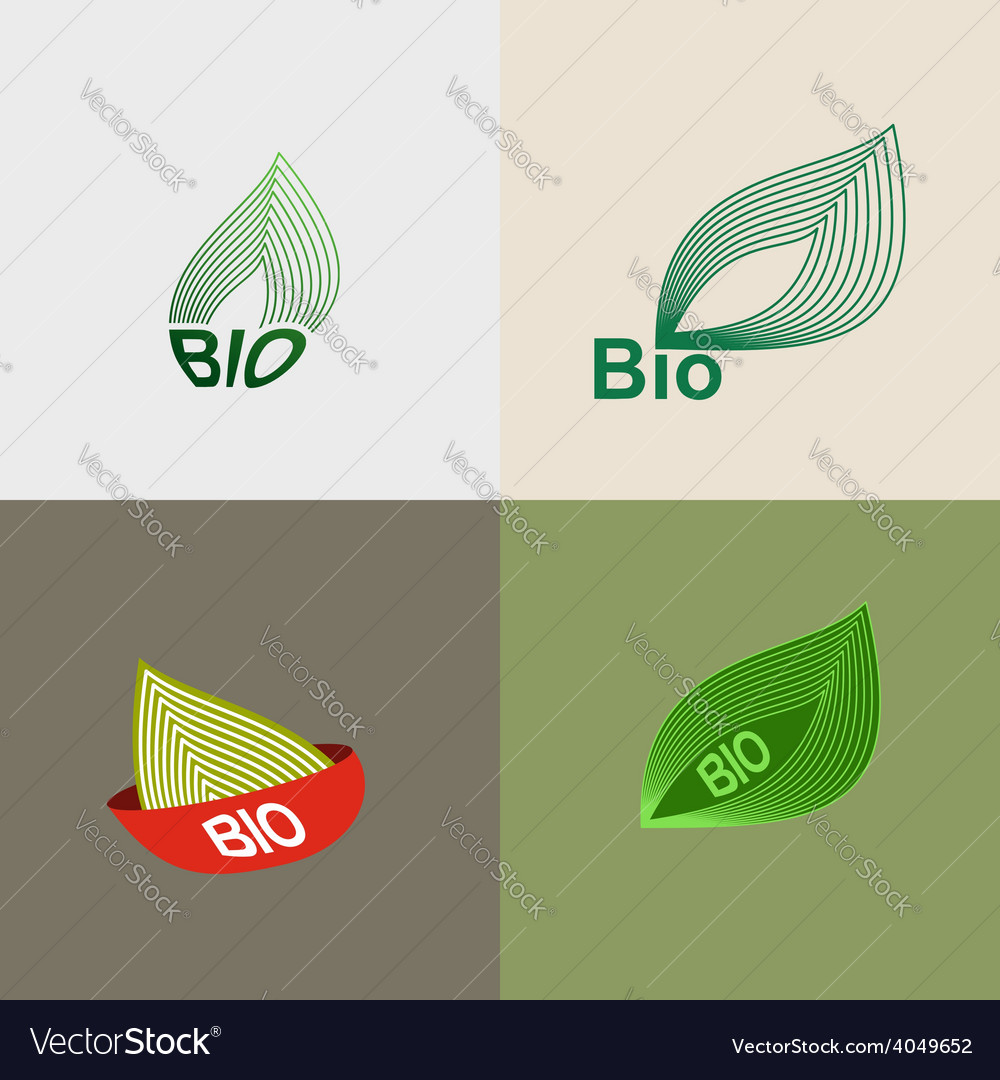 Bio logo green leaves leaves environmental icons vector | Price: 1 Credit (USD $1)
