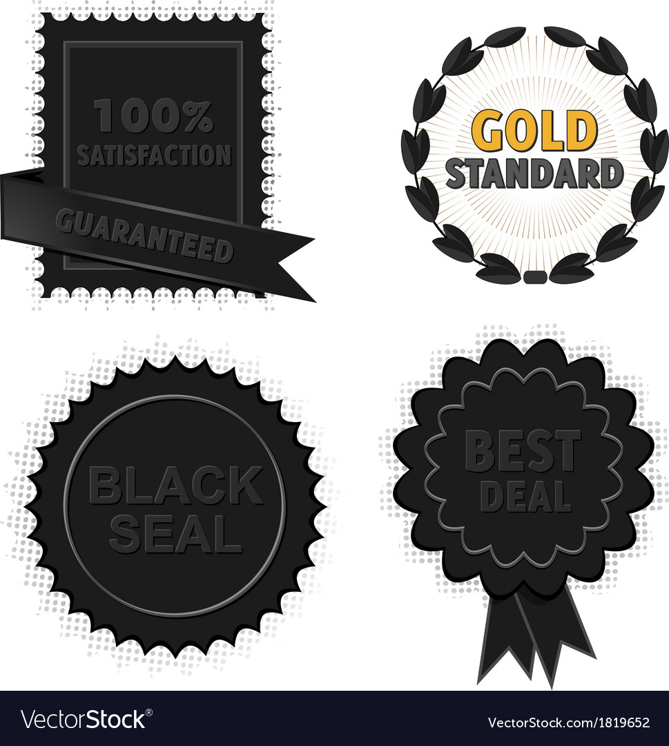 Black badges and seals vector | Price: 1 Credit (USD $1)
