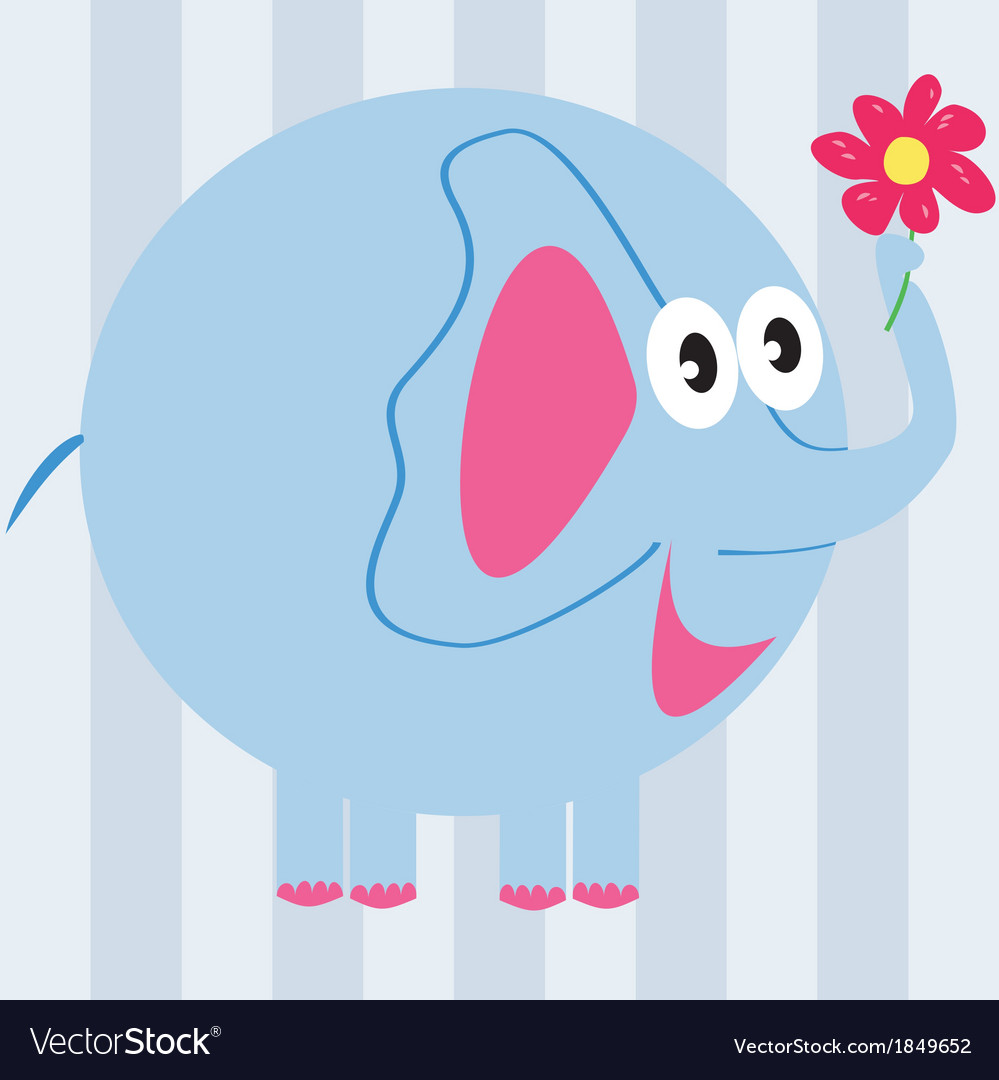 Cartoon elephant with a flower vector | Price: 1 Credit (USD $1)