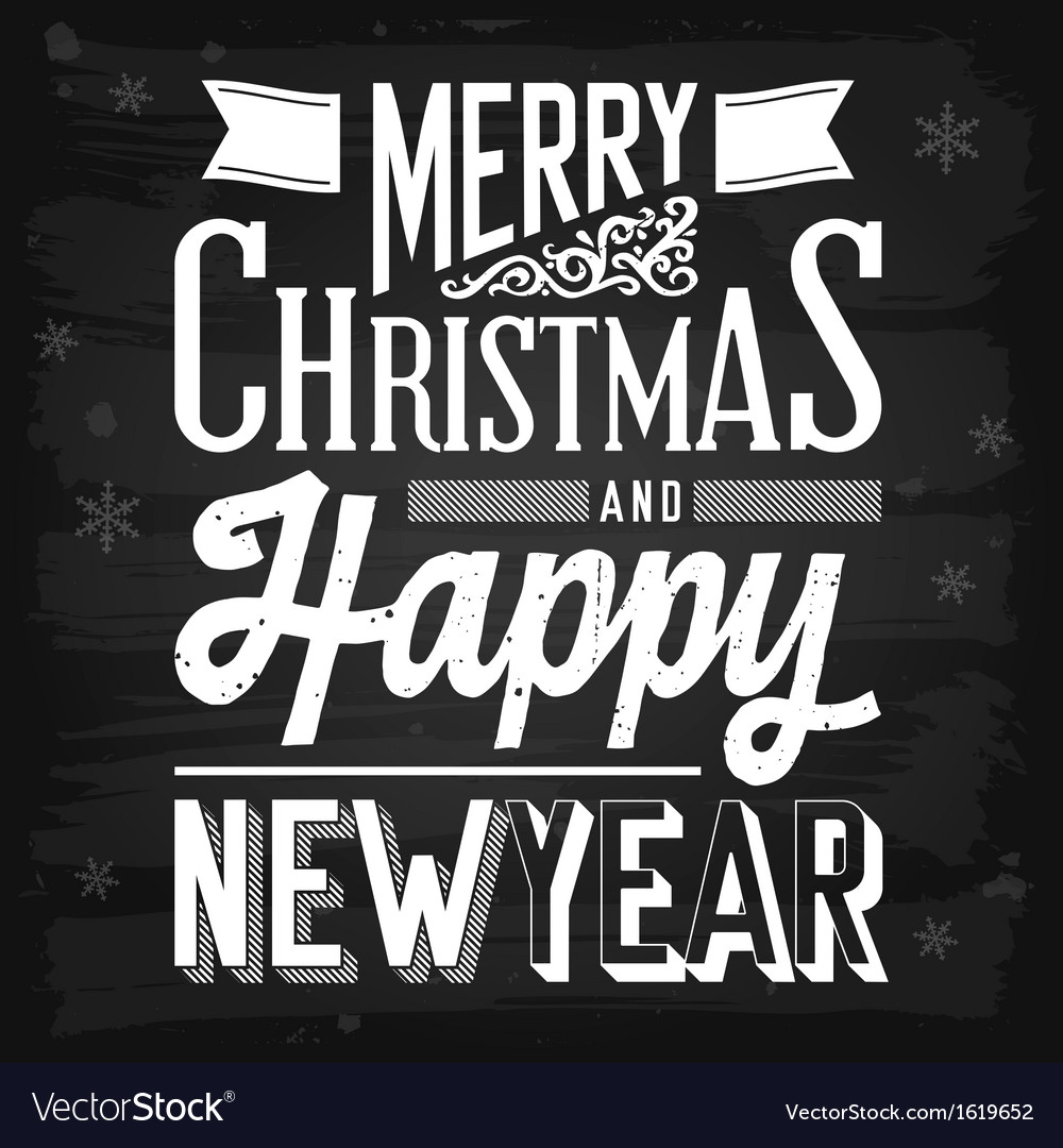 Christmas and new year greetings chalkboard vector | Price: 1 Credit (USD $1)