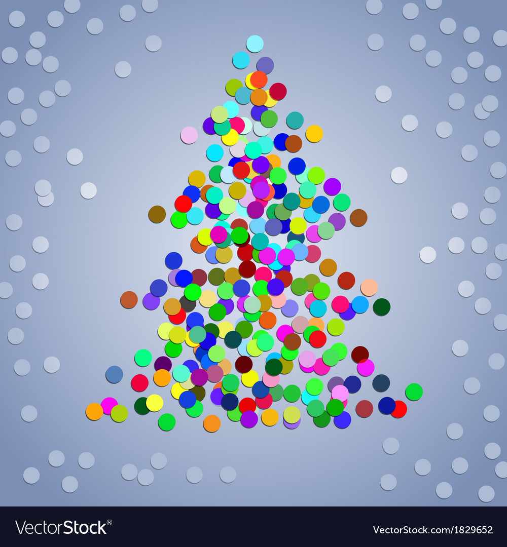 Christmas colorful confetti tree vector | Price: 1 Credit (USD $1)