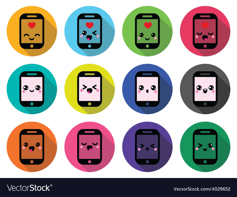 Japanese cute kawaii character - mobile or cell ph vector | Price: 1 Credit (USD $1)