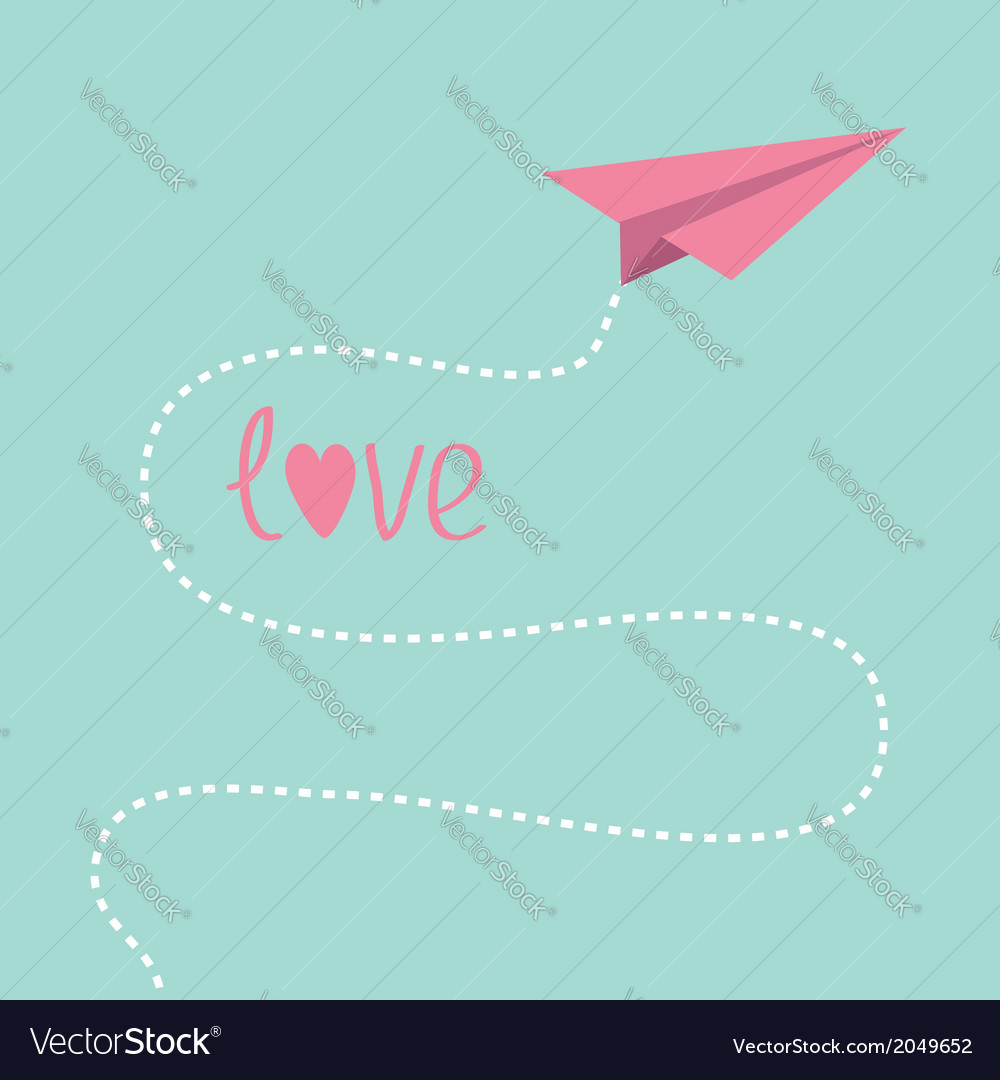 Origami pink paper plane dash line in the sky love vector | Price: 1 Credit (USD $1)