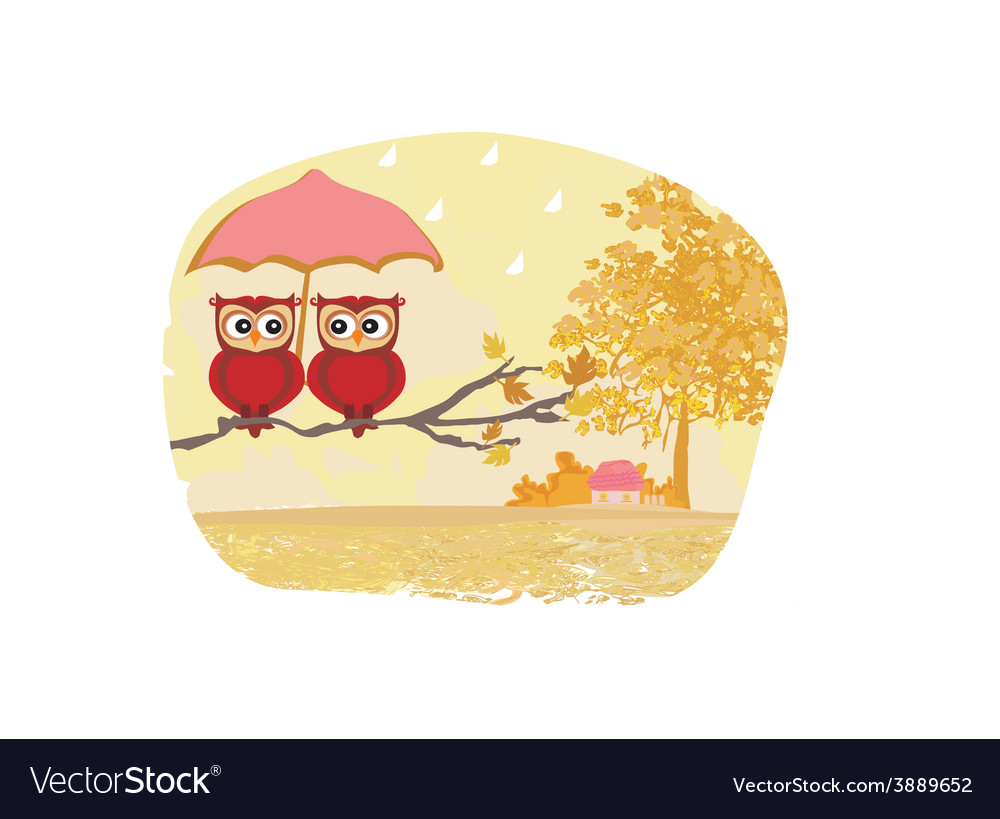 Owls couple under umbrella autumn rainy day vector | Price: 1 Credit (USD $1)