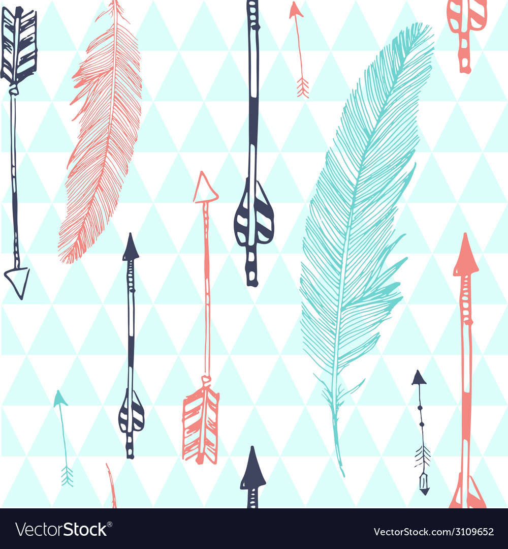 Seamless pattern with feather and arrows vector | Price: 1 Credit (USD $1)
