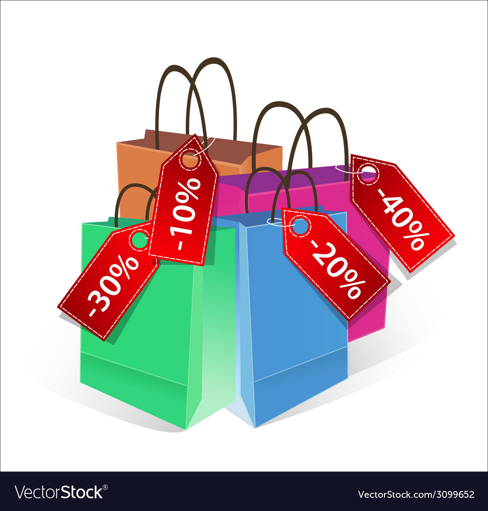 Shopping bags with discount labels vector | Price: 1 Credit (USD $1)