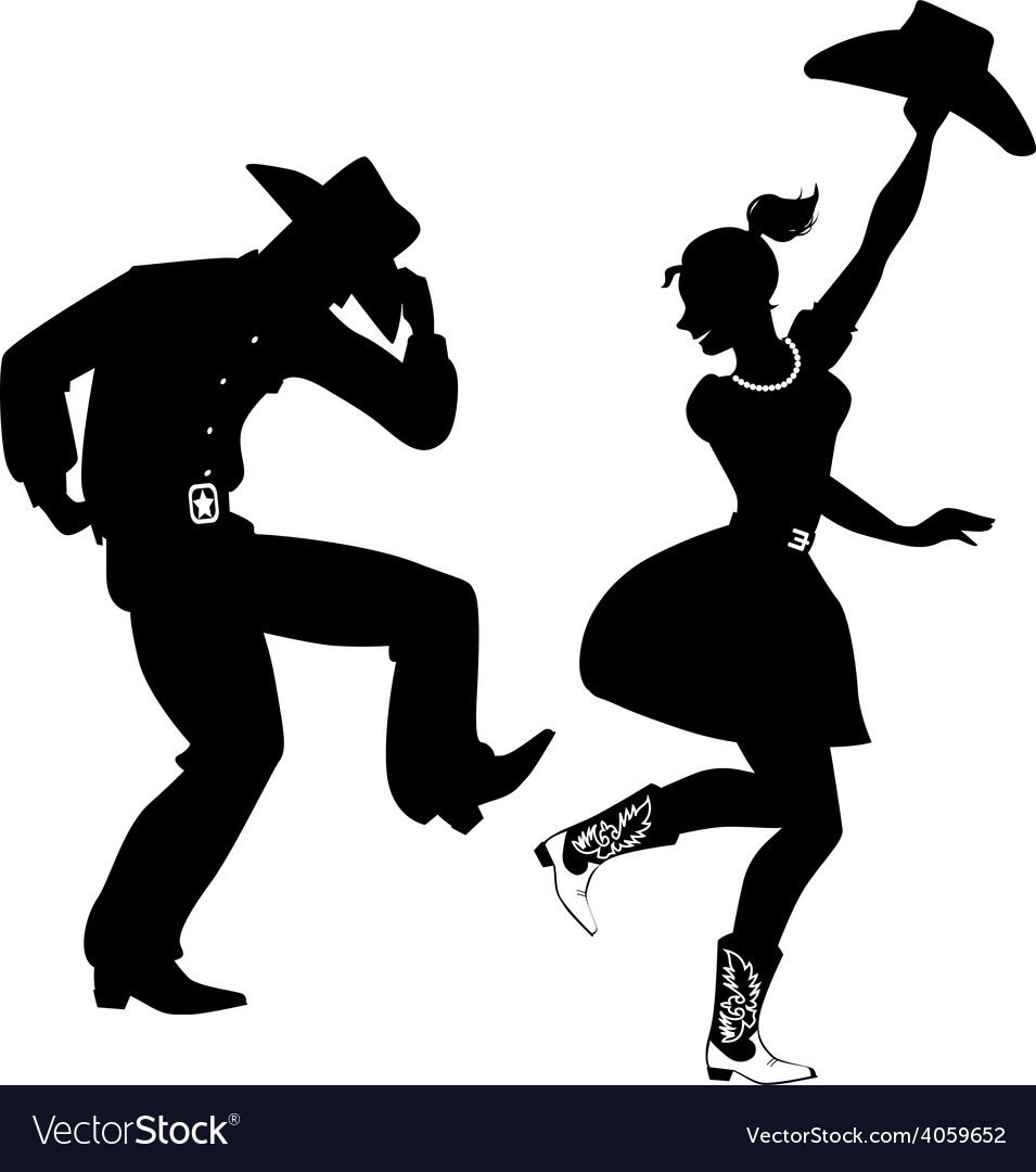 Silhouette of country-western dancers vector | Price: 1 Credit (USD $1)