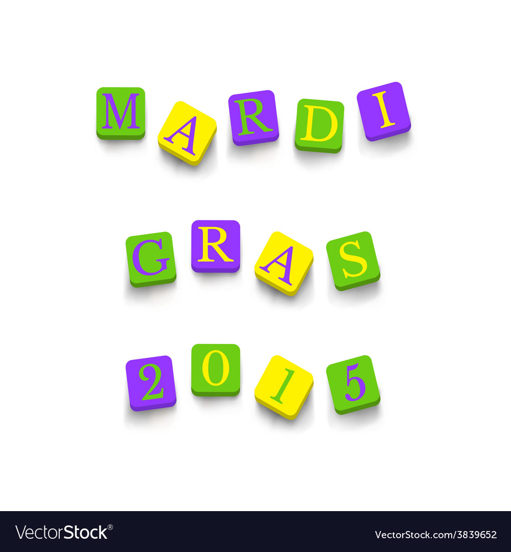 Words mardi gras 2015 vector | Price: 1 Credit (USD $1)