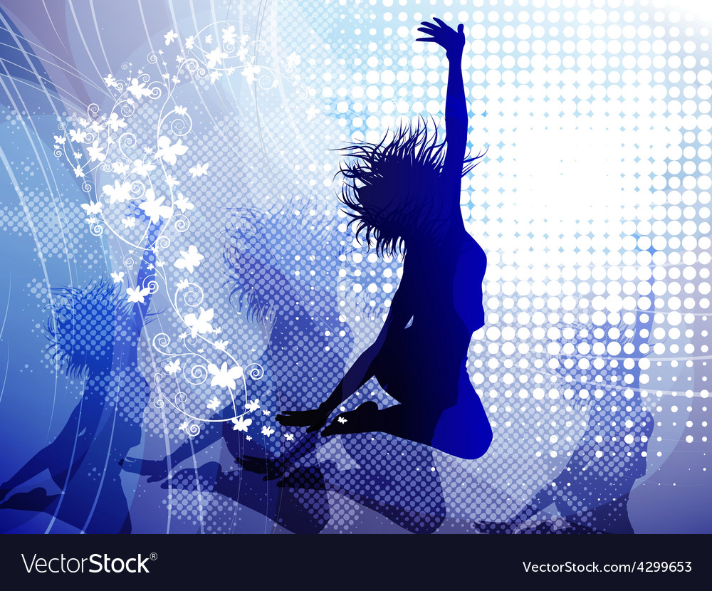 Background with jumping girl vector | Price: 1 Credit (USD $1)