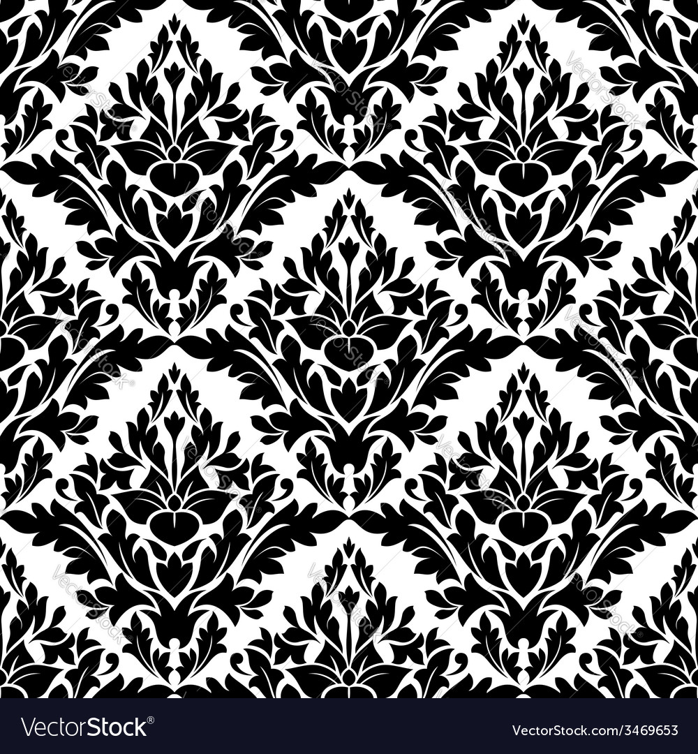 Beautiful floral seamless damask pattern vector | Price: 1 Credit (USD $1)