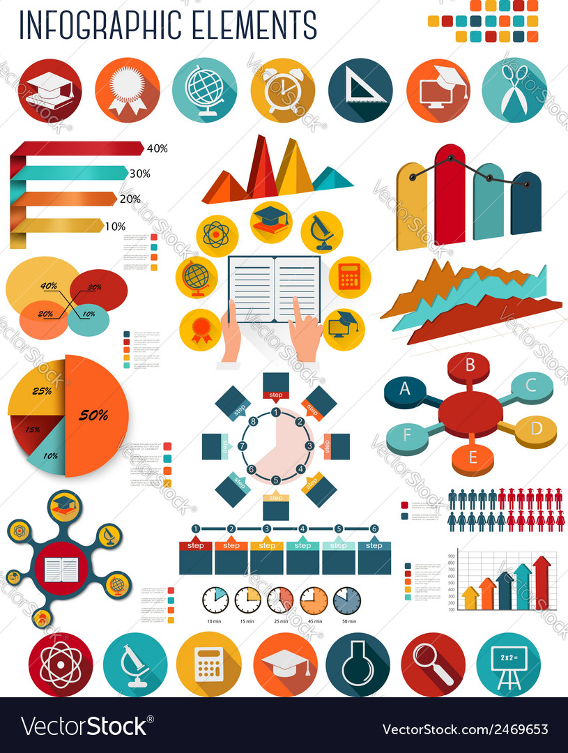 Big set of education infographics elements vector | Price: 1 Credit (USD $1)