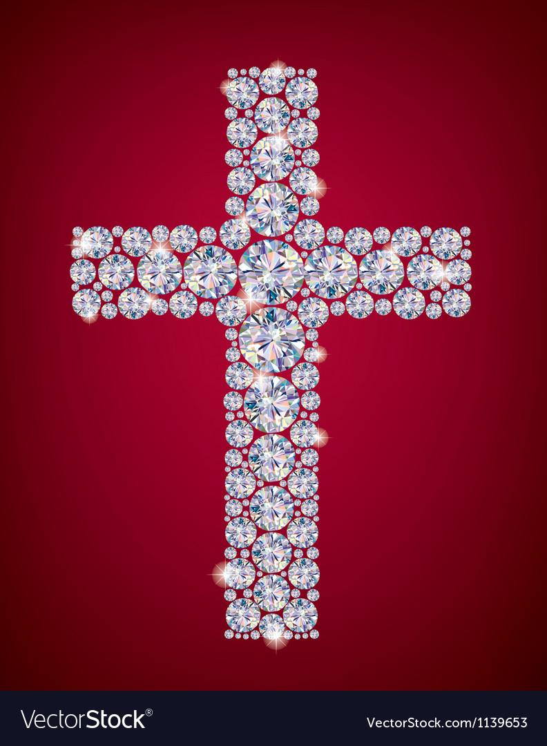 Cross of diamonds vector | Price: 1 Credit (USD $1)