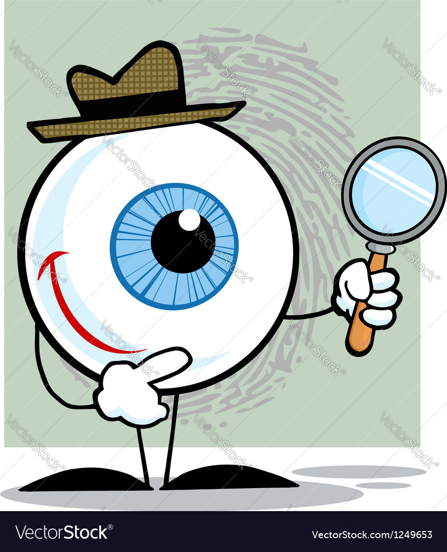 Detective eyeball holding a magnifying glass vector | Price: 1 Credit (USD $1)