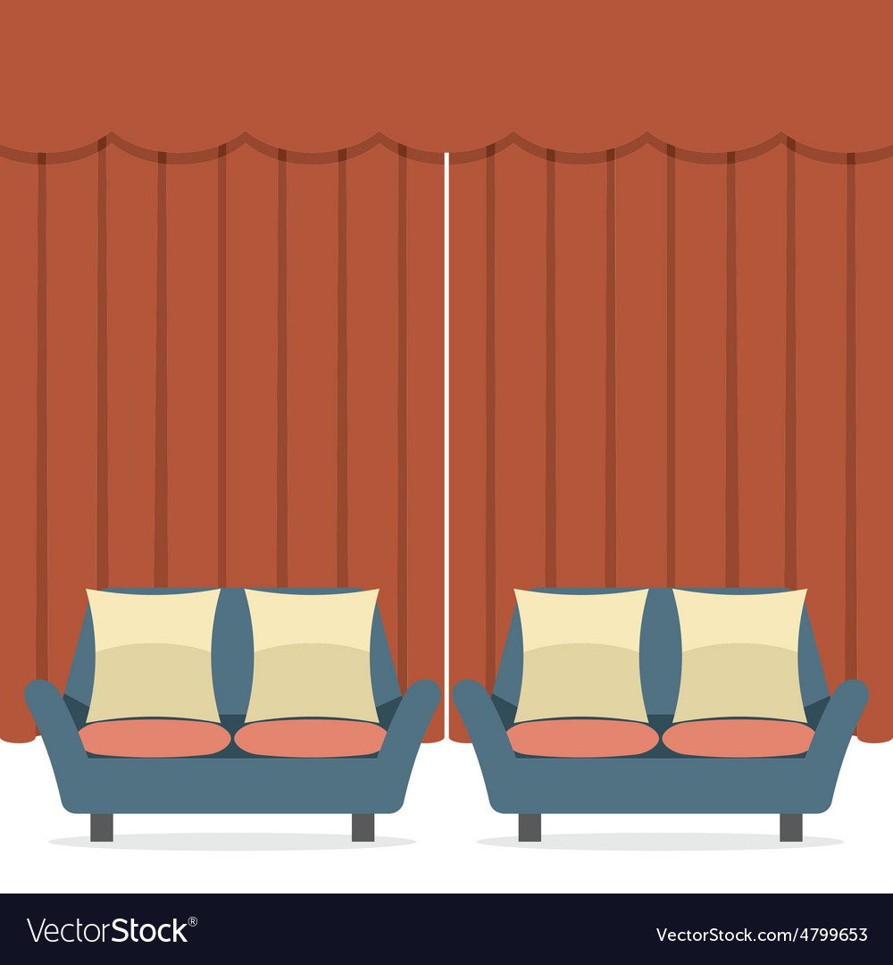 Empty sofas in front of curtain vector | Price: 1 Credit (USD $1)