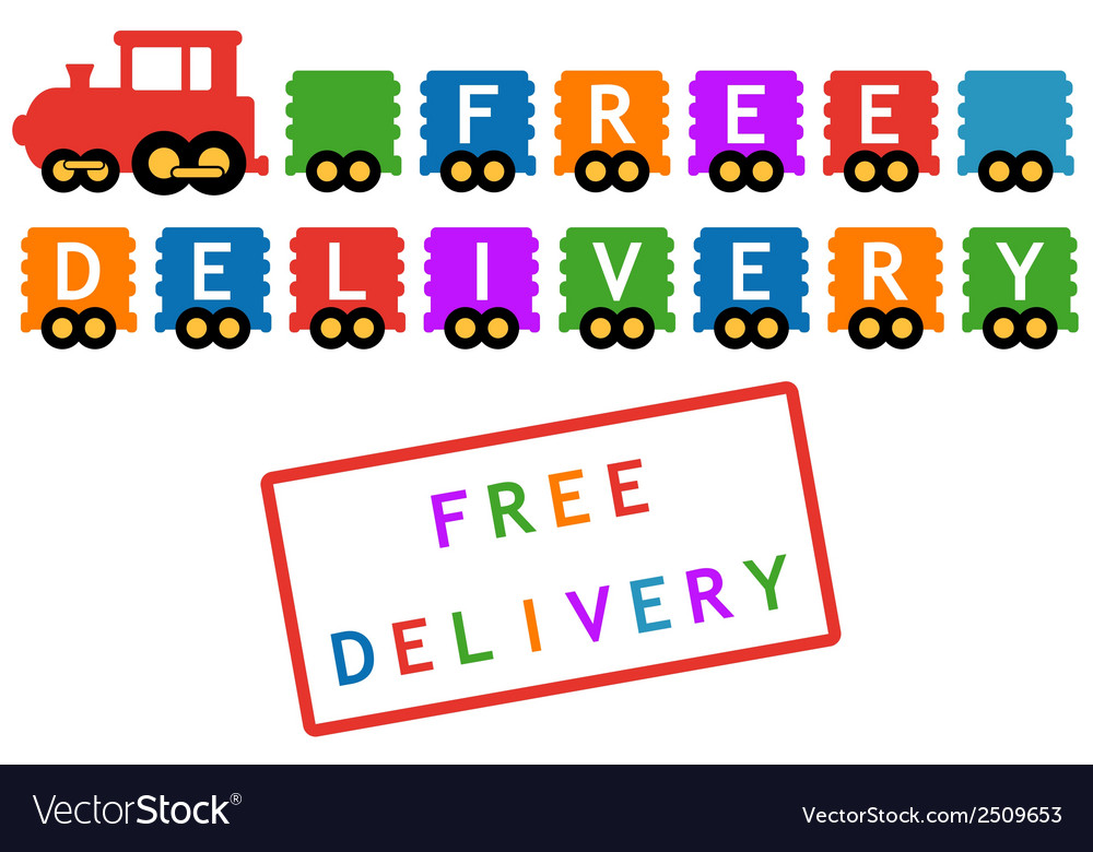 Free delivery symbol - train with colorful car vector | Price: 1 Credit (USD $1)
