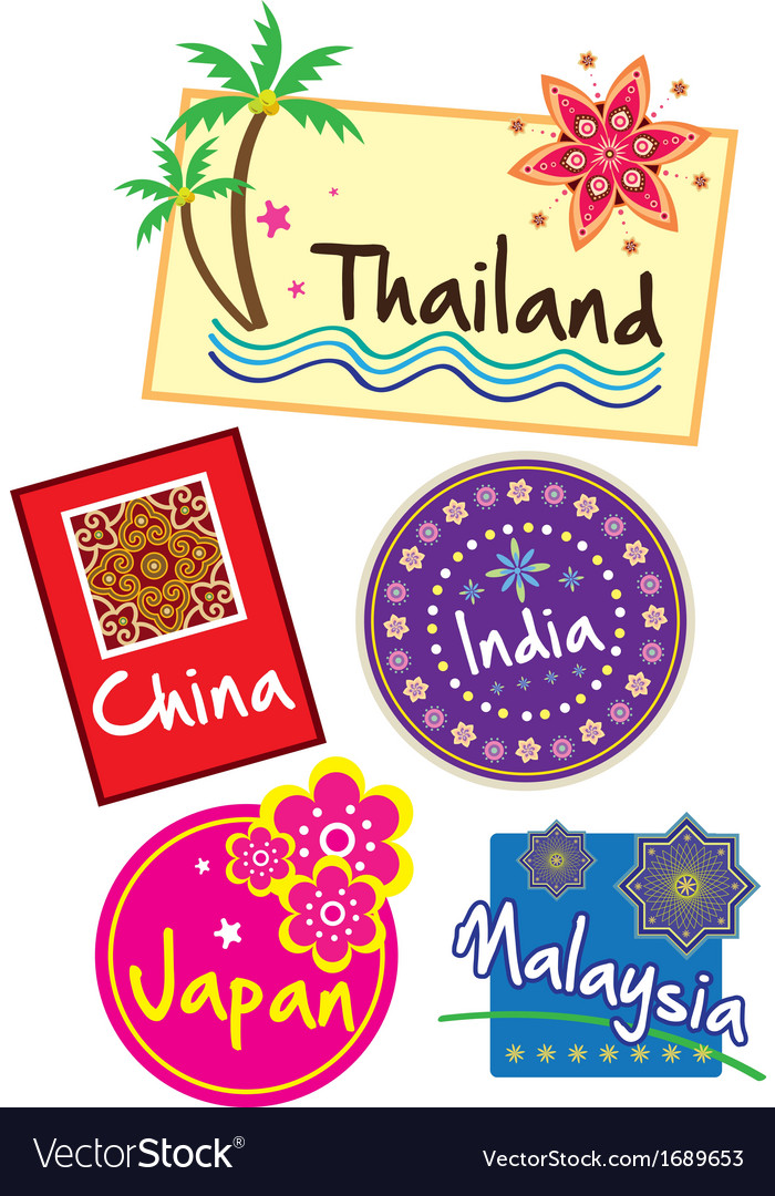 Geographical stickers vector | Price: 1 Credit (USD $1)