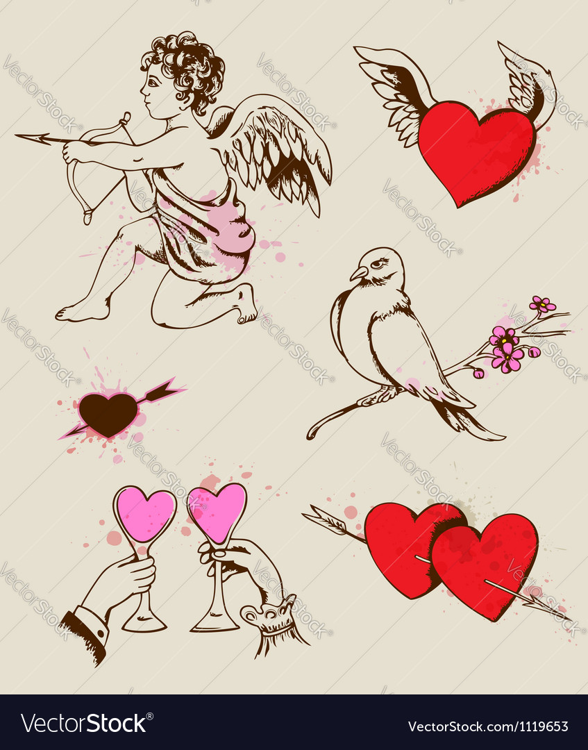 Hand drawn valentines element vector | Price: 1 Credit (USD $1)