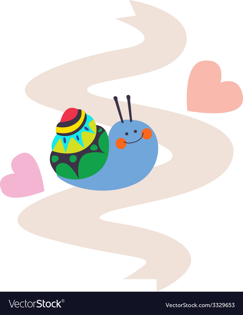 Lovely snail on pink ribbon vector   Price: 1 Credit (USD $1)