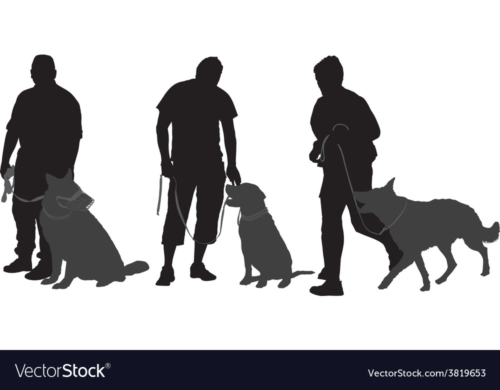 Man walking his dog silhouette vector | Price: 1 Credit (USD $1)