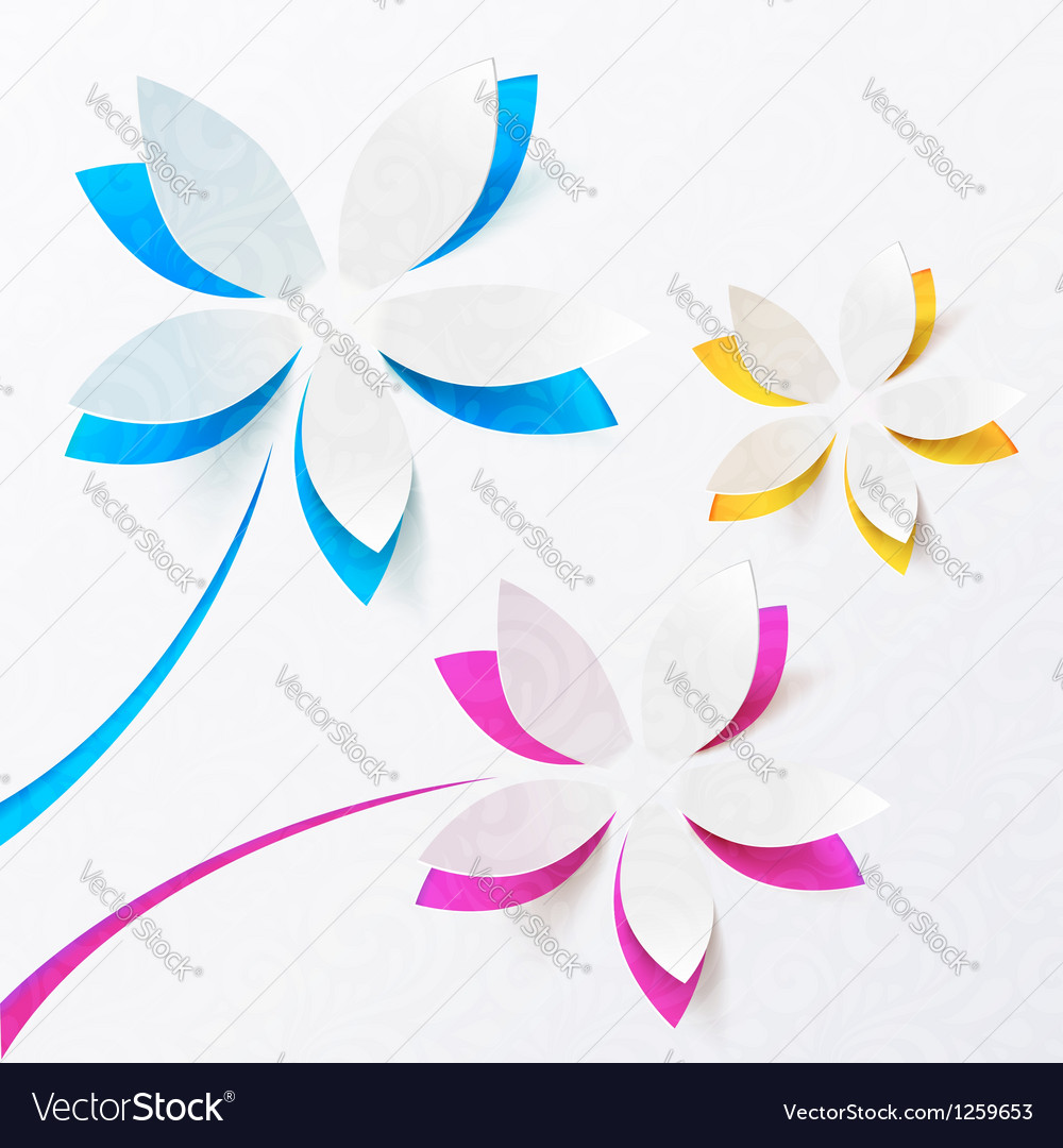 Paper flowers greeting card template vector | Price: 1 Credit (USD $1)