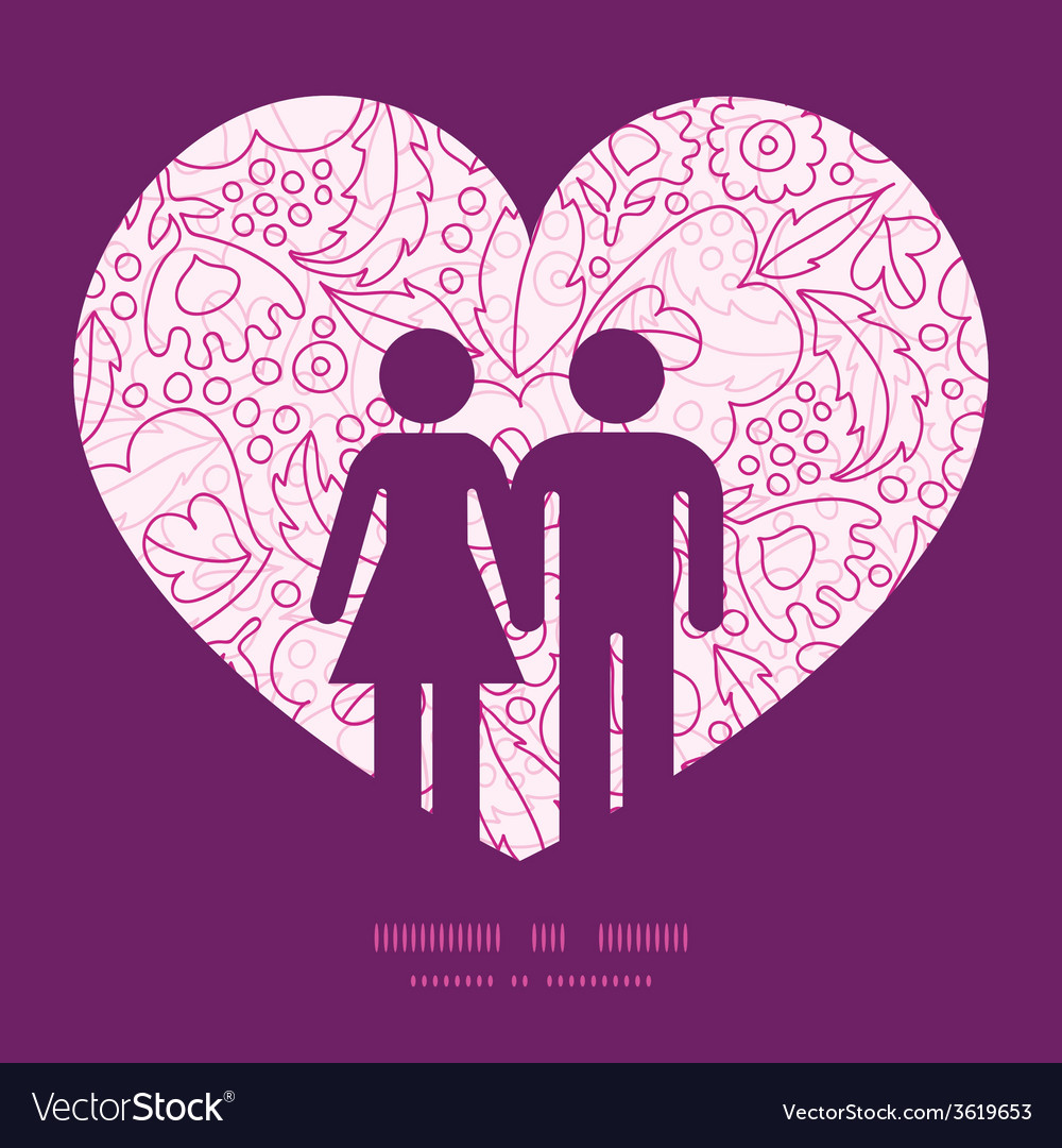 Pink flowers lineart couple in love silhouettes vector | Price: 1 Credit (USD $1)