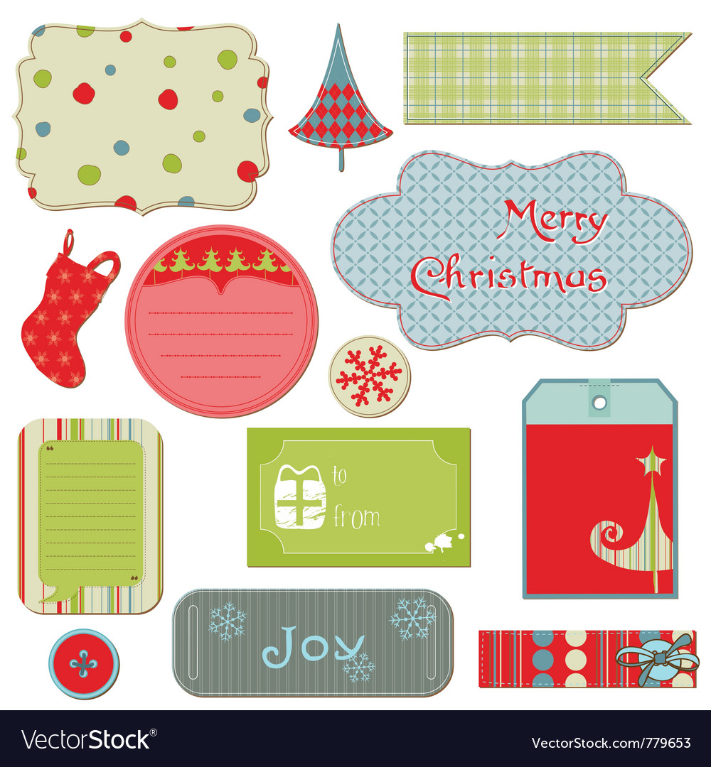 Set of christmas tags and elements vector | Price: 1 Credit (USD $1)
