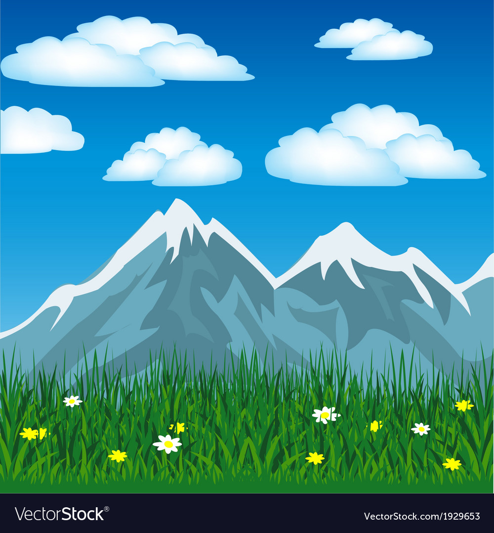 Summer in mountain vector | Price: 1 Credit (USD $1)