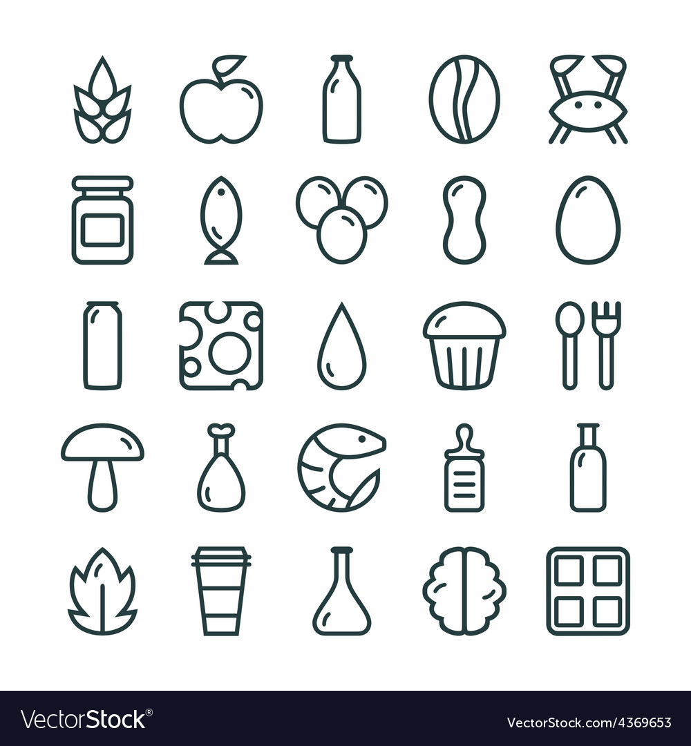 Variety of food icons set vector | Price: 1 Credit (USD $1)