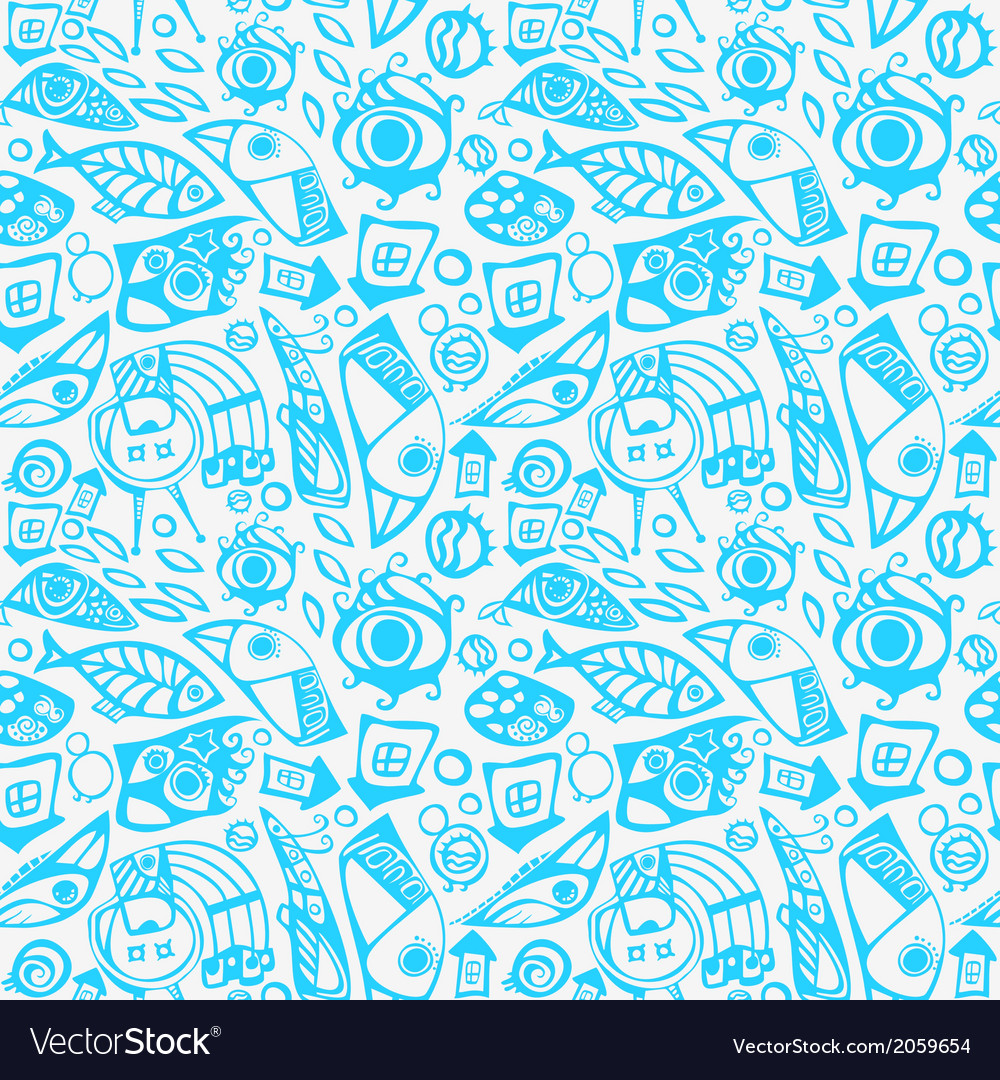 Abstract seamless pattern in blue vector | Price: 1 Credit (USD $1)