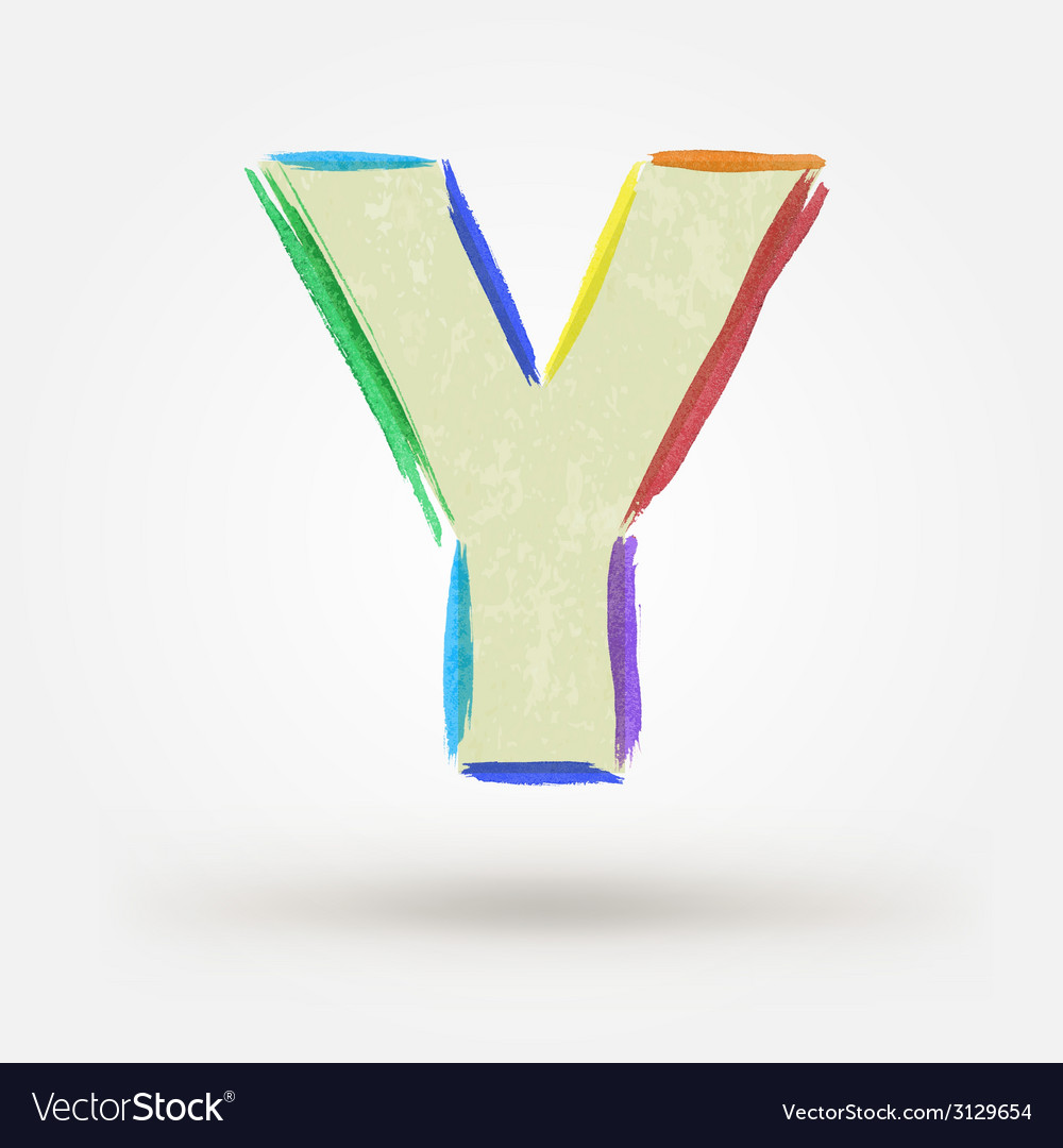 Alphabet letter y watercolor paint design element vector | Price: 1 Credit (USD $1)