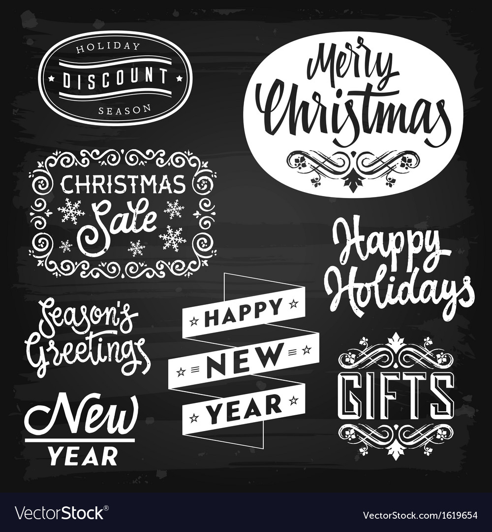 Christmas and new year greetings badges vector | Price: 1 Credit (USD $1)
