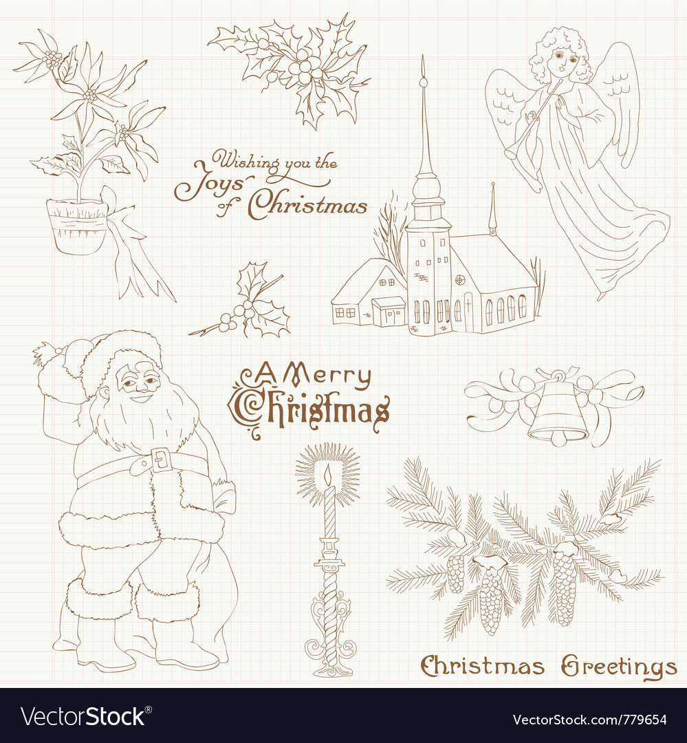 Christmas vintage design elements vector | Price: 1 Credit (USD $1)