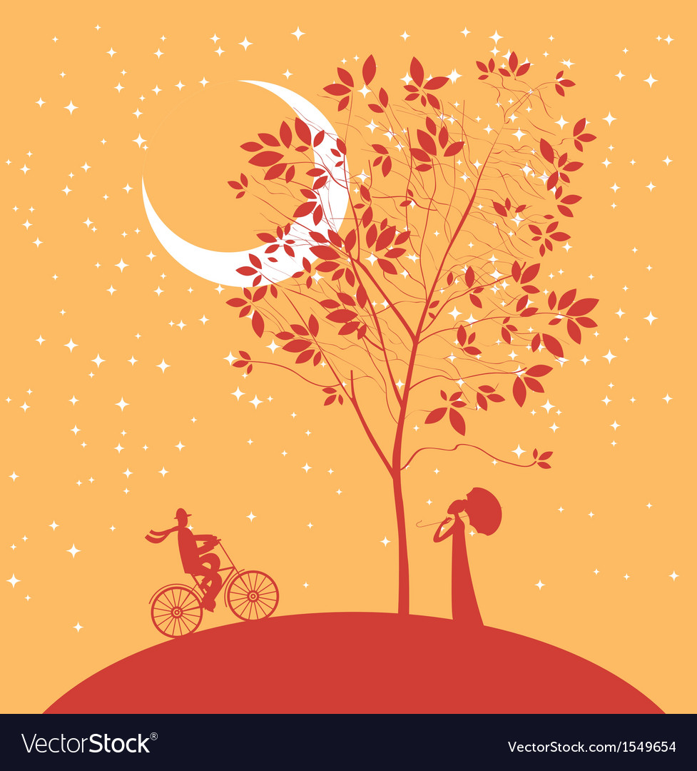 Date under the moon vector | Price: 1 Credit (USD $1)