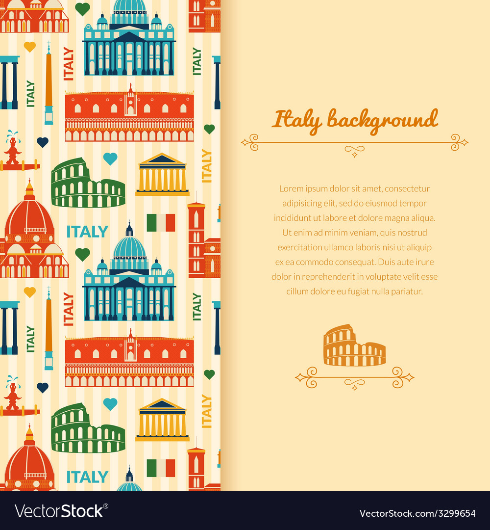 Landmarks of italy background with space for text vector | Price: 1 Credit (USD $1)
