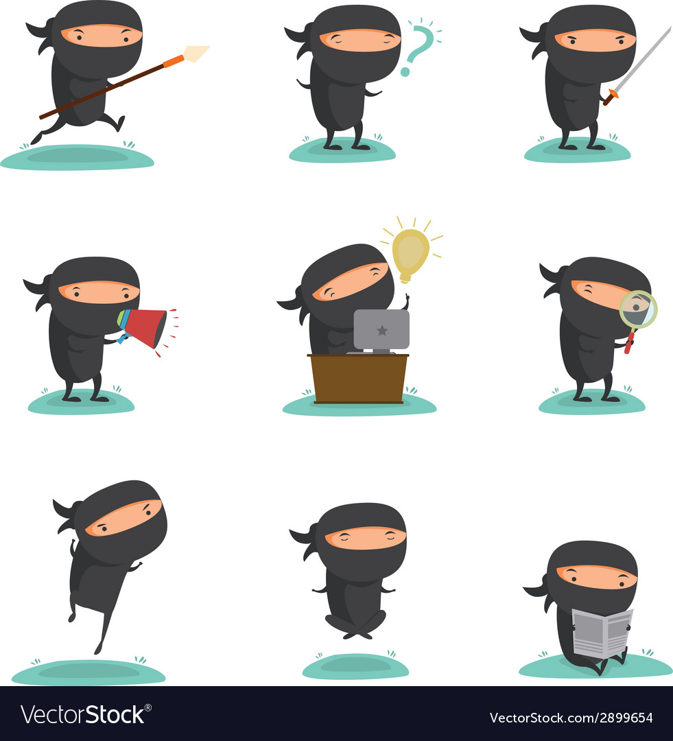 Ninja mascot set 1 vector | Price: 1 Credit (USD $1)
