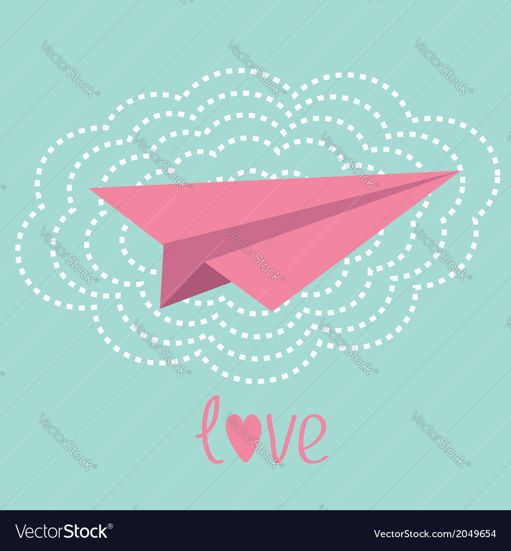 Origami paper plane and big cloud in the sky love vector | Price: 1 Credit (USD $1)