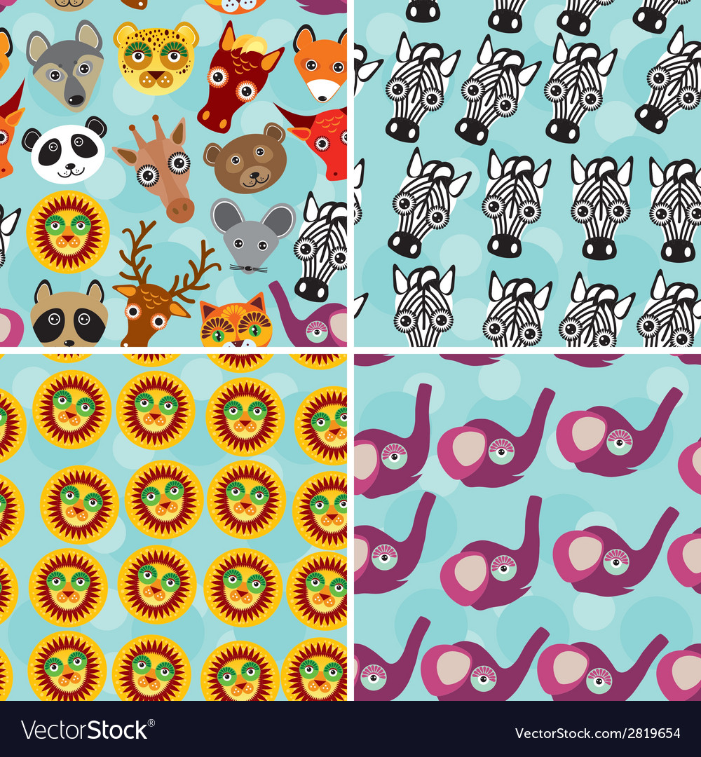 Set 4 seamless pattern with funny cute animal face vector | Price: 1 Credit (USD $1)