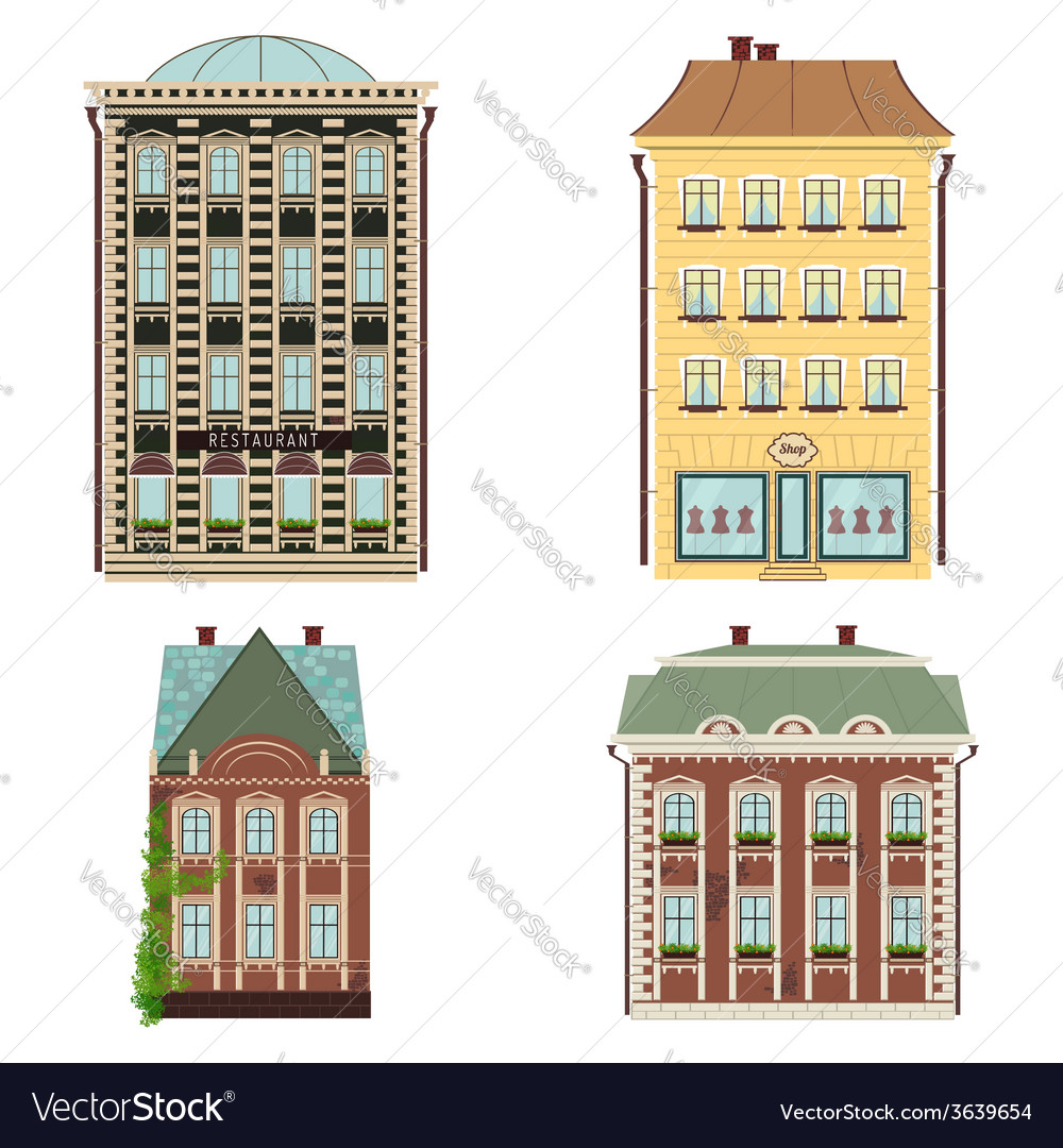 Set of 4 houses isolated on the white vector | Price: 1 Credit (USD $1)