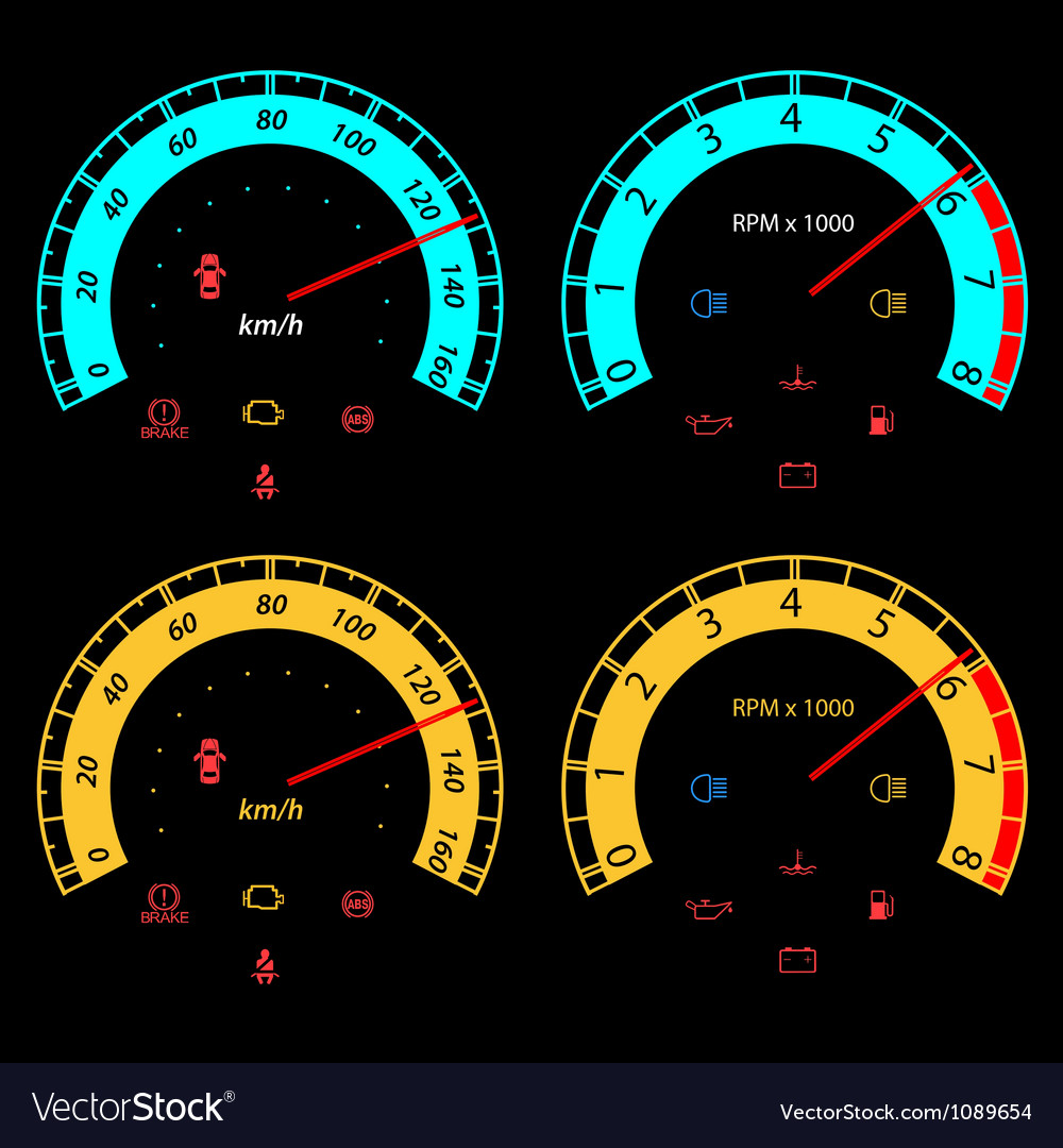 Set of car speedometers for racing design vector | Price: 1 Credit (USD $1)