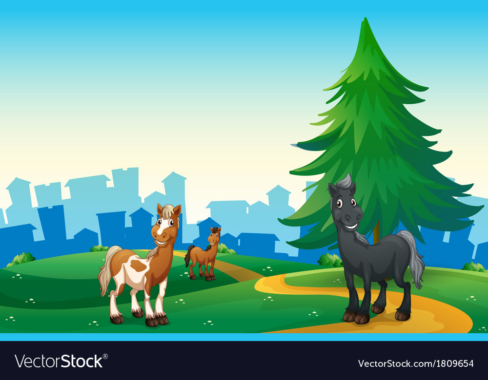 Three horses at the hilltop across the village vector | Price: 1 Credit (USD $1)