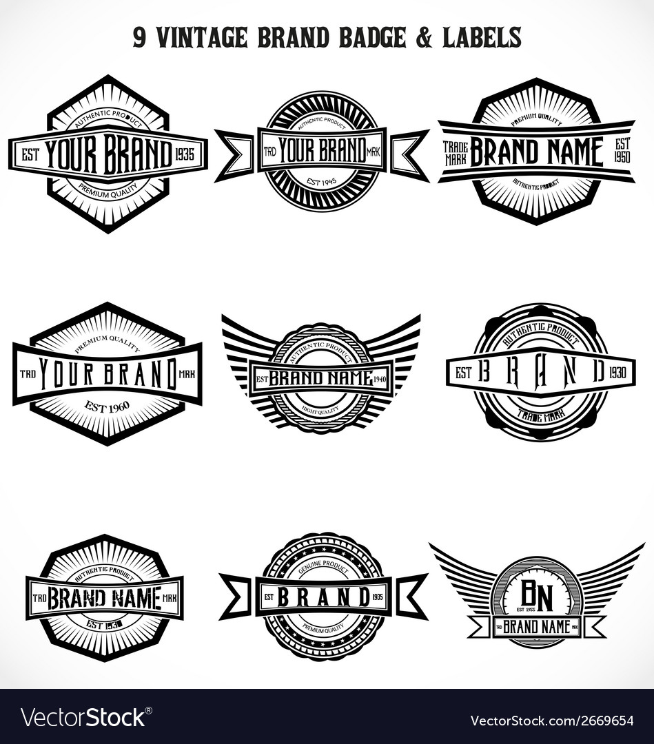Vintage brand badge labels vector | Price: 1 Credit (USD $1)