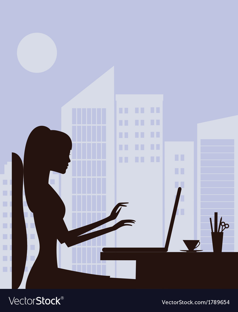 Woman with laptop vector | Price: 1 Credit (USD $1)
