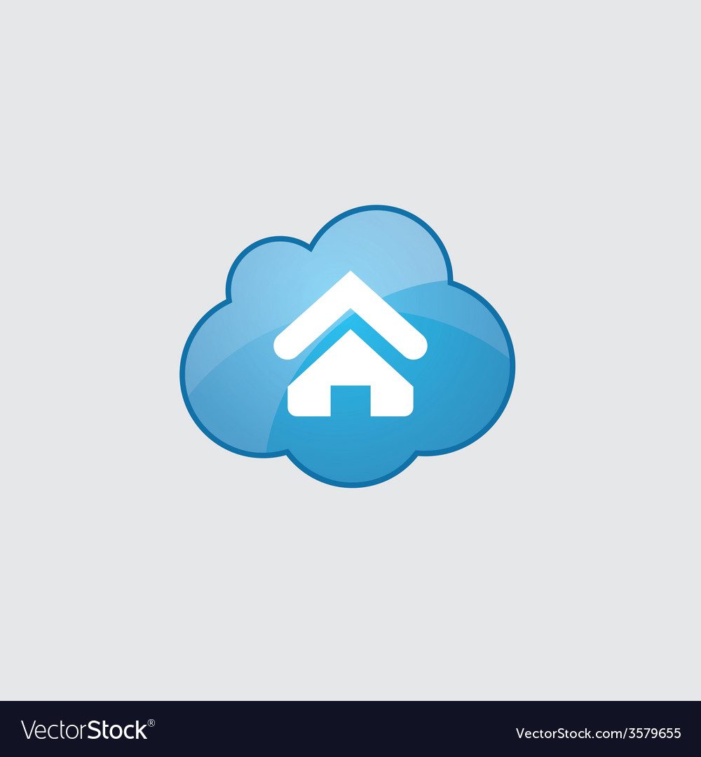 Blue cloud home icon vector | Price: 1 Credit (USD $1)