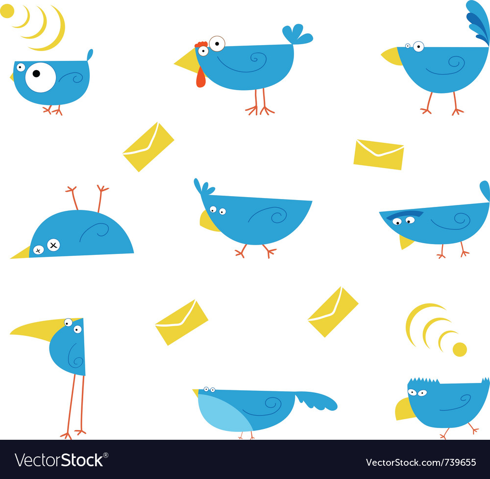 Bluebirds communications character vector | Price: 1 Credit (USD $1)